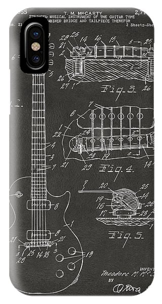 Guitar iPhone Case - 1955 Mccarty Gibson Les Paul Guitar Patent Artwork - Gray by Nikki Marie Smith
