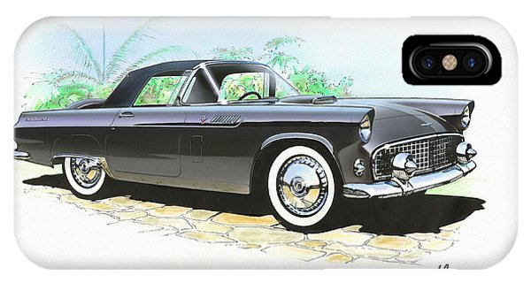 Fury iPhone Case - 1956 Ford Thunderbird  Black  Classic Vintage Sports Car Art Sketch Rendering         by John Samsen