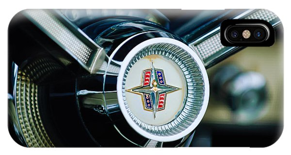 Lincoln Continental iPhone Case - 1956 Lincoln Continental Mark II Hess And Eisenhardt Convertible Steering Wheel Emblem by Jill Reger
