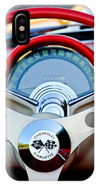 IPhone Case featuring the photograph 1957 Chevrolet Corvette Convertible Steering Wheel by Jill Reger