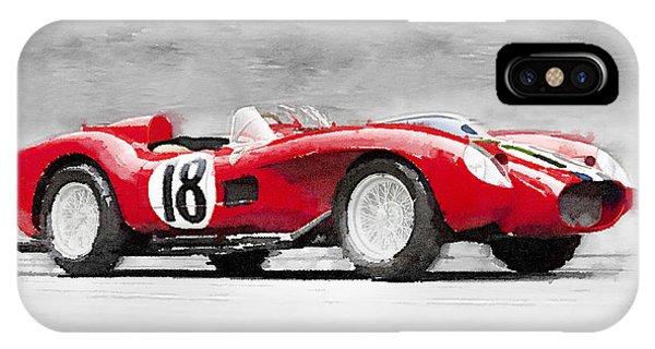 Classic Cars iPhone Case - 1957 Ferrari Testarossa Watercolor by Naxart Studio