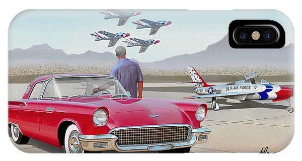 Fury iPhone Case - 1957 Thunderbird  With F-84 Thunderbirds  Red  Classic Ford Vintage Art Sketch Rendering         by John Samsen