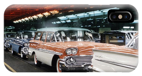 1958 iPhone Case - 1958 Chevrolet Automobile Assembly Line by The Harrington Collection