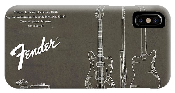 Vintage iPhone Case - 1958 Fender Electric Guitar Patent Art 2 by Nishanth Gopinathan