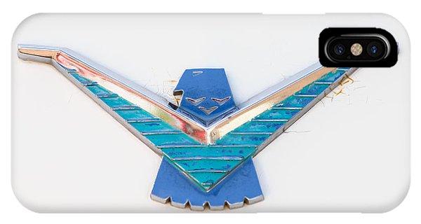 1958 iPhone Case - 1958 Ford Thunderbird Emblem -0174c by Jill Reger