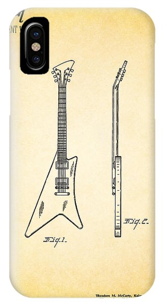 Guitar iPhone Case - 1958 Gibson Guitar Patent by Mark Rogan