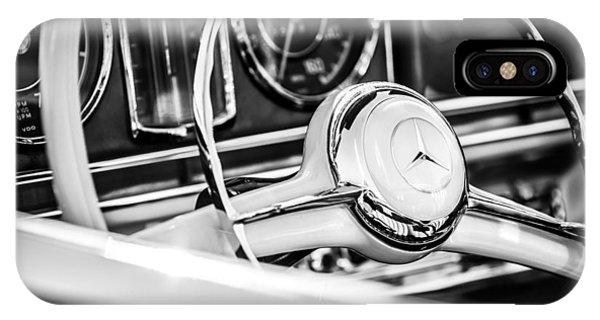 1958 iPhone Case - 1958 Mercedes-benz 300sl Roadster Steering Wheel -1131bw by Jill Reger