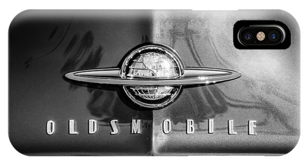 1958 iPhone Case - 1958 Oldsmobile Grille Emblem -0236bw by Jill Reger