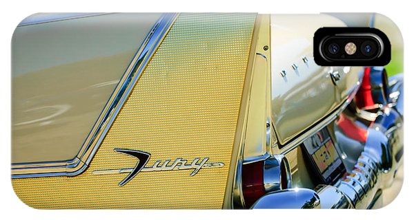 1958 iPhone Case - 1958 Plymouth Fury Golden Commando Taillight Emblem -3447c by Jill Reger