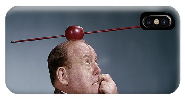 1960s Anxious Business Man Biting IPhone Case