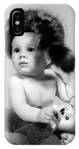 Coonskin Cap iPhone Case - 1960s Baby Wearing Coonskin Hat by Vintage Images 89ae3f26ce6