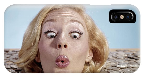 Drown iPhone Case - 1960s Blond Woman Funny Facial by Vintage Images