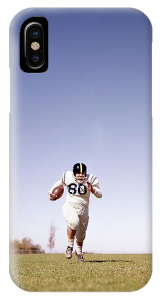 Running Back iPhone Case - 1960s Football Player Running Towards by Vintage Images
