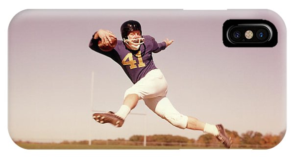 Running Back iPhone Case - 1960s Jumping Running Football Player by Vintage Images
