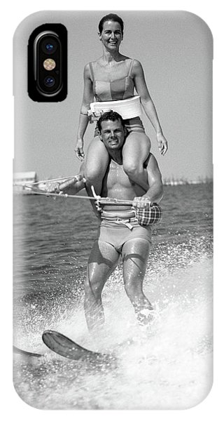 Water Ski iPhone Case - 1960s Man Water Skiing With Woman by Vintage Images