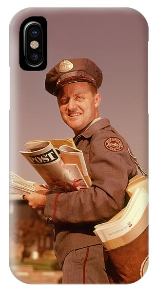 1960s Smiling Mailman Holding Mail IPhone Case