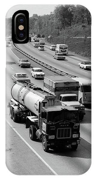 Trucking iPhone Case - 1960s Tanker Truck Traveling On Busy by Vintage Images