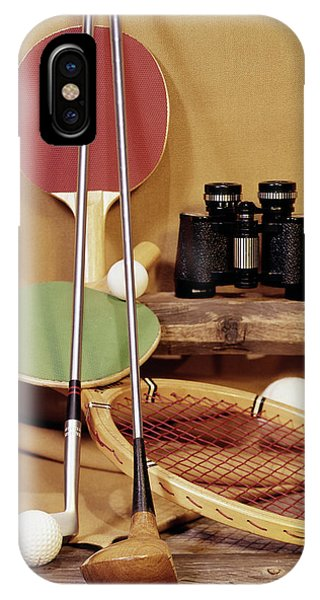 Racquet iPhone Case - 1960s Tennis Racket Racquet Table by Vintage Images