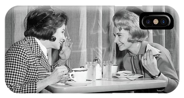 Knit Hat iPhone Case - 1960s Two Women Gossiping At Lunch by Vintage Images