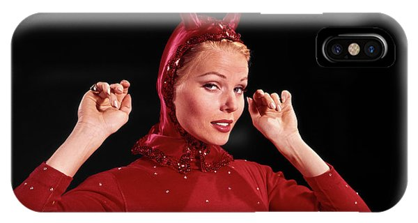 Cunning iPhone X Case - 1960s Woman Red Devil Costume by Vintage Images