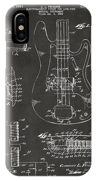 1961 Fender Guitar Patent Artwork - Gray IPhone Case