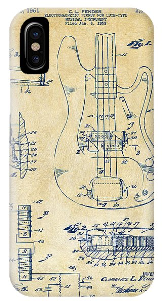 1961 Fender Guitar Patent Artwork - Vintage IPhone Case
