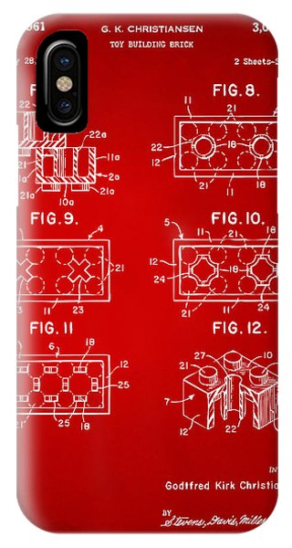 Bricks iPhone Case - 1961 Lego Brick Patent Art Red by Nikki Marie Smith