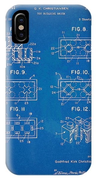 Bricks iPhone Case - 1961 Lego Brick Patent Artwork - Blueprint by Nikki Marie Smith