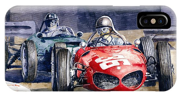 Paper iPhone Case - 1961 Monaco Gp #36 Ferrari 156 Ginther  #18 Brm Climax P48 G Hill by Yuriy Shevchuk