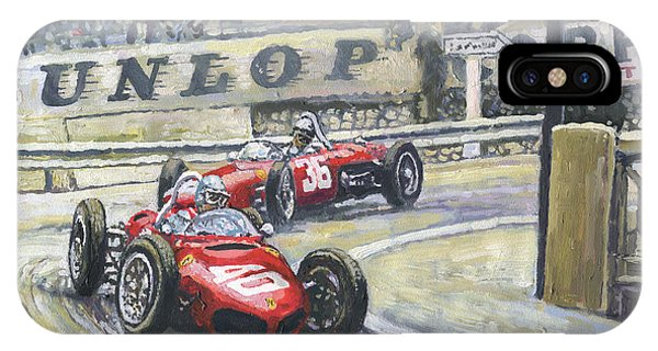 Paper iPhone Case - 1961 Monaco Gp Ferrari 156 #40 Trips #36 Ginther by Yuriy Shevchuk