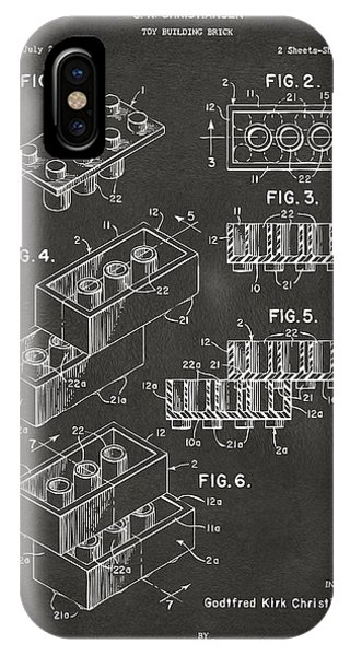 Bricks iPhone Case - 1961 Toy Building Brick Patent Art - Gray by Nikki Marie Smith
