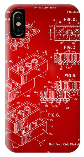 Bricks iPhone Case - 1961 Toy Building Brick Patent Art Red by Nikki Marie Smith