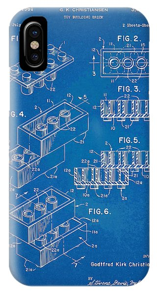 Bricks iPhone Case - 1961 Toy Building Brick Patent Artwork - Blueprint by Nikki Marie Smith