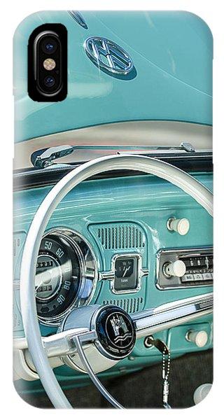 Volkswagen iPhone Case - 1962 Volkswagen Vw Beetle Cabriolet Steering Wheel by Jill Reger