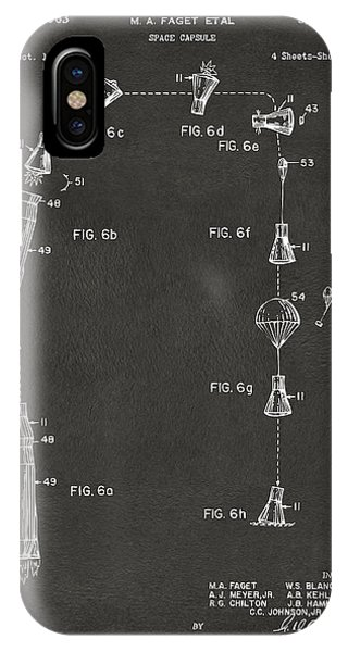 Space Ships iPhone Case - 1963 Space Capsule Patent Gray by Nikki Marie Smith