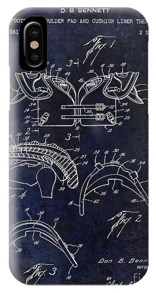 1964 Football Shoulder Pads Patent Blue IPhone Case