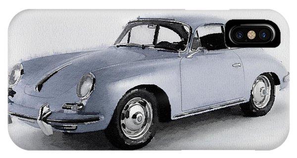 Classic Cars iPhone Case - 1964 Porsche 356b Watercolor by Naxart Studio