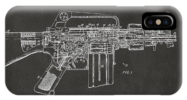 Weapons iPhone Case - 1966 M-16 Gun Patent Gray by Nikki Marie Smith