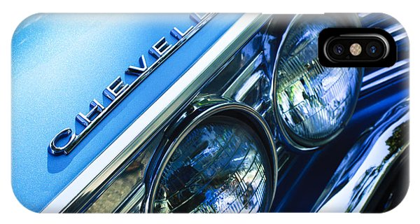 American Cars iPhone Case - 1967 Chevrolet Chevelle Malibu Head Light Emblem by Jill Reger