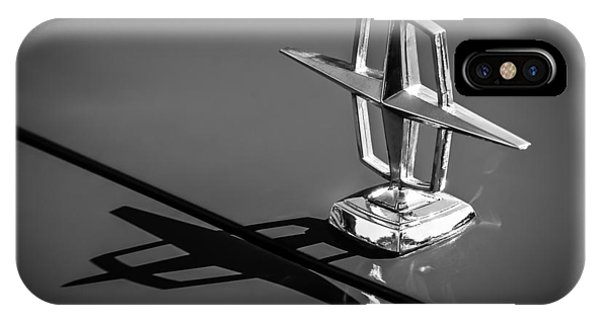 Lincoln Continental iPhone Case - 1967 Lincoln Continental Hood Ornament -1204bw by Jill Reger