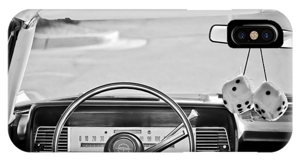 Lincoln Continental iPhone Case - 1967 Lincoln Continental Steering Wheel -014bw by Jill Reger