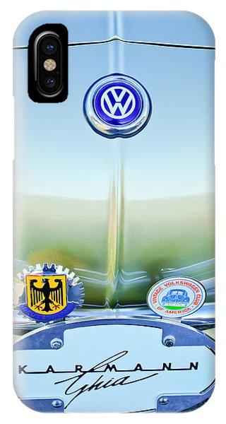 Volkswagen iPhone Case - 1967 Volkswagen Vw Karmann Ghia Hood Emblem by Jill Reger