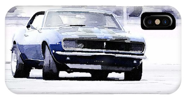 Classic Cars iPhone Case - 1968 Chevy Camaro Watercolor by Naxart Studio