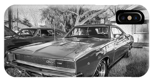 1968 Dodge Charger The Bullit Car Bw IPhone Case