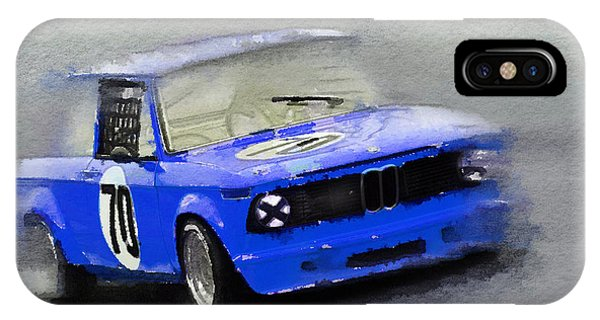 Classic Cars iPhone Case - 1969 Bmw 2002 Racing Watercolor by Naxart Studio