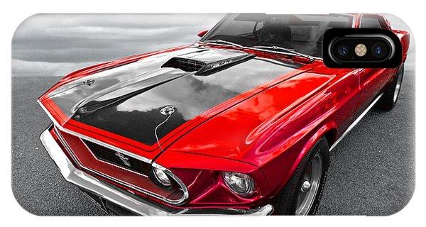 1969 Red 428 Mach 1 Cobra Jet Mustang IPhone Case