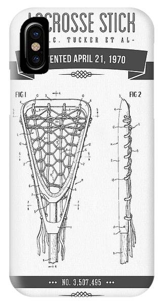 1970 Lacrosse Stick Patent Drawing - Retro Gray IPhone Case
