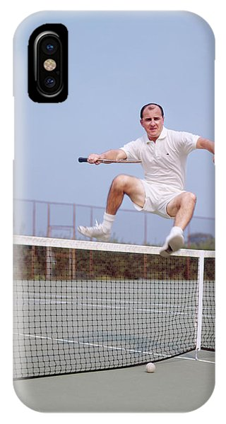 Racquet iPhone Case - 1970s Balding Fit Middle Aged Man by Vintage Images
