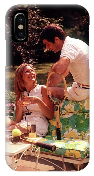 Racquet iPhone Case - 1970s Relaxing Couple Sitting On Patio by Vintage Images