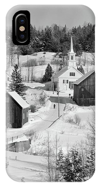 New England Barn iPhone Case - 1970s Winter Scenic Of Waits River by Vintage Images